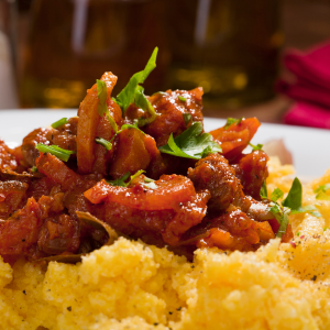 Spanish pork and polenta