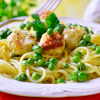 chicken meatballs with pasta and peas