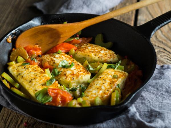 Mediterran vegetables with halloumi